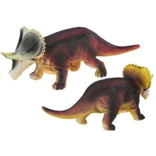 Dinozaur Duży Gumowy Triceratops z Dźwiękiem 36cm