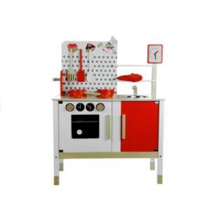 Kuchnia drewniana Gosia czerowno-brązowa + Zegar