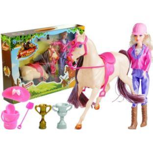 Zestaw Lalka i Koń w Stajni + Akcesoria Biały