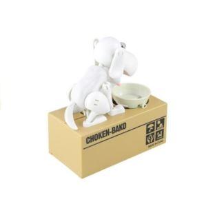 Skarbonka Pies Zjadający Monety Pieniądze Biały