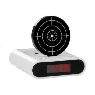 Pistolet Laserowy z Tarczą Budzik Zegarek Biały
